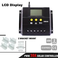 60A LCD Solar Panel Charge Controller Regulator 48V AUTO + 4x Z Bracket Mount ZH