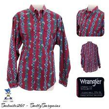 Vintage Wrangler AZTEC XL Mens Shirt 17 1/2 - 36 Floral L/S Western Cowboy RETRO