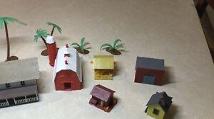 HO Scale - Farm Building Lot - House, Barn, Three Sheds, Garage