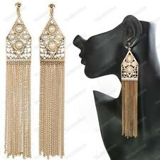 "CLIP ON 7""LONG CHAIN pearl/crystal EARRINGS vintage gold tone FRINGE chandelier"