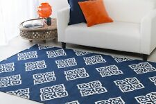 NEW WOOL RUG SURYA FRONTIER MODERN GEOMETRIC NAVY BLUE AREA CARPET 3'6''x5'6''