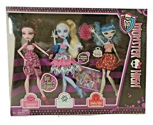 Monster High Dot Dead Gorgeous Draculaura Abbey Bominable Ghoulia Yelps 3 Pack