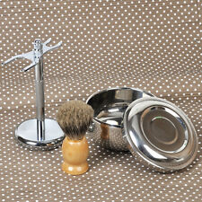 Shaving Brush Badger Hair Wood Handle Unique Stainless Steel Stand Holder Bowl