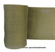 2 m. Tela arpillera yute 280gr x 29 cm verde kaki militar Cañamo Rustico evento