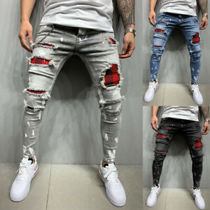 Herren Jeans Skinny Hose Slim Fit Jeans Destroyed Look Denim Herrenhose Hosen DE