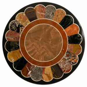 Black Marble Coffee/Dining Table Top Scagliola Inlay Handmade Art Home Deco B317