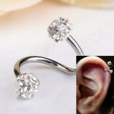 1PC Crystal Ball S Spiral Twisted Lip Nose Ring Ear Stud Body Piercing Jewelry