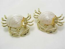 DARLING! Vintage Pair of Golden Sand Crab Scatter Pins Brooches Sea Shell Backs