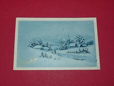 CPA CARTE POSTALE 1932 BONNE ANNEE PAYSAGE DE NEIGE EGLISE VOEUX