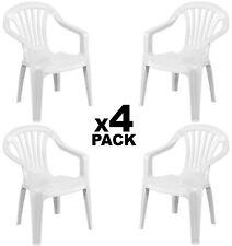 4x Sillas plasticas para Terraza Jardín Patio playa camping Blancas apilables