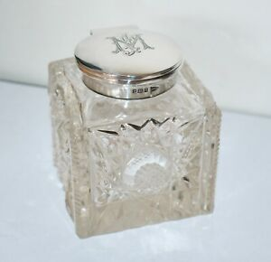 Antique Heavy Cut Crystal English Stg Silver Large Inkwell Sheffield 1908 Mint