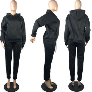 Women Hooded Long Sleeves Solid Color Casual Sports Fleece Pants Set Two Piece