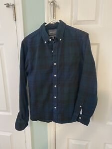Bonobos Men's Small Standard Fit Button-Front Multicolor Plaid Flannel Shirt