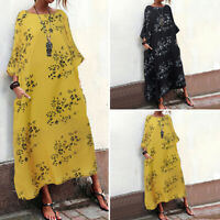 Vintage Femme Robe Manche Longue Floral Simple Confortable Loose Dresse Plus