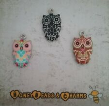 ❤ Shiny Enamel Owl Charms ❤ Pack of 3 ❤ CRAFTING/JEWELLERY ❤