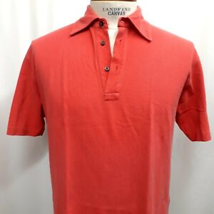 BRUNELLO CUCINELLI Mens 52 Large Short Sleeve Polo Shirt Coral Red/Orange Cotton