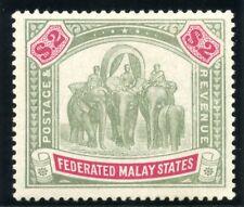 Malaya Federated States 1907 KEVII $2 green & carmine MLH. SG 49. Sc 35.