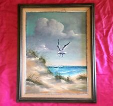 Signed Original Oil Painting Nautical Sea Ocean Scene Beach Seagulls - Nice!!!