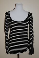 Free People Black White Long Sleeve Shirt Stripped Woman Size Small S P