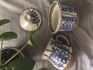 Vintage handmade ceramic coffee set creamer and sugar bowl hippy Natural