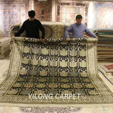 Yilong 8'x10' Large Hand Knotted Antique Silk Carpets Hand Craft Area Rug 438B