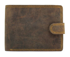 Starhide Mens Distressed Leather Wallet Purse With Secure Coin Pocket 710-BROWN