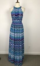 Eliza J Sz 6 Maxi Dress Print Neck Tie Lined