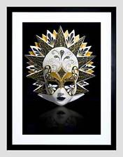 PHOTO VENETIAN MASK ORNATE CARNIVAL HEADWEAR BLACK FRAMED ART PRINT B12X8174
