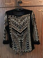 BALMAIN X H&M EMBELLISHED BEADED PEARL VELVET JACKET US 8 EU 38 BLACK