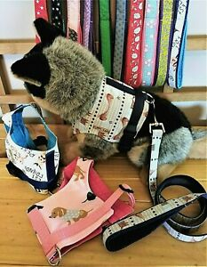 Yuppy Yaps Mini Dachshund fabric harness and/or lead sets assted colours 2 sizes