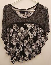 H&M  Short Loose Sleeve Black Floral Top Blouse Size M