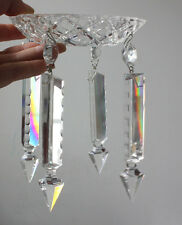 1 GLASS CHANDELIER BOBECHE BOWL 4.7'' LAMP PART 4 CRYSTAL SPEAR VINTORIAN LUSTER
