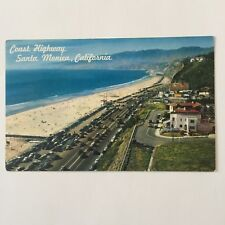 Coast Highway Old Car Beach Scene Santa Monic California Unposted Postcard