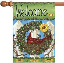 Toland Welcome Nest 28 x 40 Cute Bird Fence Wreath Berries Flower House Flag