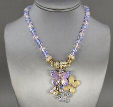 Vtg Kirks Folly Gold & Enamel Butterfly Forget Me Not Beaded Necklace