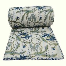 Kantha Quilt White Paradise Indian Cotton Handmade Bedspread Twin Size Gudari
