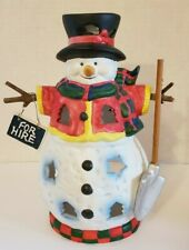 Snowman For Hire Tea Light Holder Christmas Winter Candle Luminary