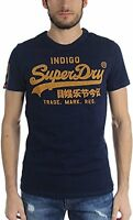 Superdry Mens Vintage Logo New Indigo Tee T Shirt Raw Navy Gold Blue