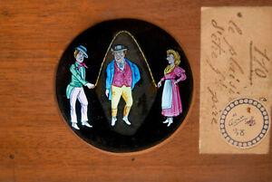 MAGIC LANTERN- plaque à tirette animée - peinte à la main -1880/1890 -le plaisir