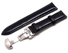 20mm Black Quality Smooth Leather Watch Strap With Silver Push Button Clasp