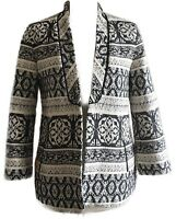 Zara  S 8 10 Jacquard Folk Tapestry Boho Blazer Blogger Fav Jacket Ethnic Career