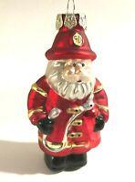 "Santa Claus Fireman Uniform w/ Hat Red Glass Christmas Ornament, 3.5"" Tall"