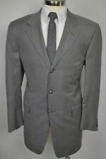 (42L) David Rickey Men's Gray Wool Bespoke Pleated Front 2 Piece Suit (35x31)