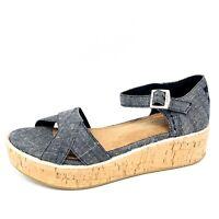 Toms Canvas Cork Wedge Sandals Blue Chambray Denim Strap Womens Heels Size 6 New