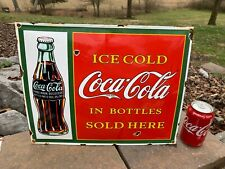 "OLD 'COCA COLA W/BOTTLE"" HEAVY PORCELAIN ADVERTISING SIGN (16""x 13"") NICE SIGN"