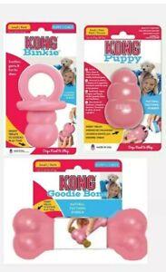 KONG Puppy PINK - SET OF (3) Toys -  Binkie, Goodie Bone & Kong