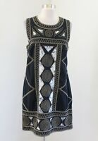 French Connection Black Embroidered Sequin Geometric Dress Size 10 Boho Cocktail