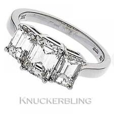 Diamond Engagement Ring Emerald Cut 2.40ct Certified D IF 18ct White Gold