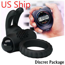 Silicone Black Rabbit Vibrating Cock Ring~ Penis Rings Clitoris Massager Sex Toy