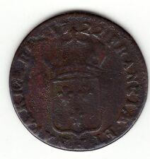 Rare 1722 H copper half sol, similar fabrication than 9 deniers Colonies, Var.